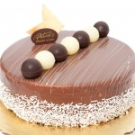 Trilogy: Spong cake, white chocolate, dark chocolate and mik chocolate mousse