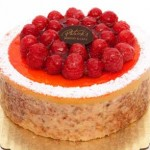 Passion Cake: Passion fruit mousse and vanilla mousse with coconut, almond cinnamon cake