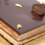 Opera Cake: Sponge cake soaked with coffee, coffee buttercream and chocolate ganache
