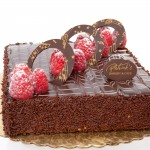Chocolate Raspberry Cake: Chocolate cake soaked with raspberry syrup and covered with chocolate ganache